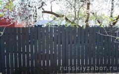 Забор из деревянного штакетника окрашенный