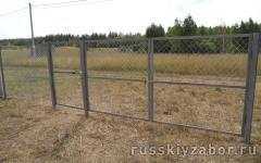 Забор из сетки рабица на трех лагах