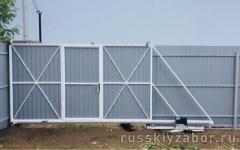 Односторонние откатные ворота с встроенной калиткой 1800х3500 мм.