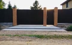 Откатные ворота с калиткой из профнастила С20 3500х1800 мм.