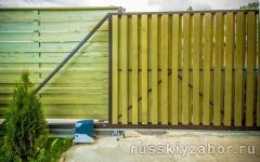 Деревянные механические откатные ворота Шахматка