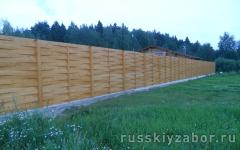 Деревянный забор Плетенка Горизонтальная на ленточном фундаменте
